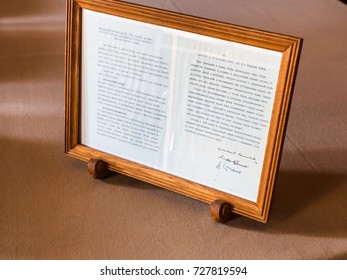 LIVADIYA, CRIMEA - SEPTEMBER 21, 2017: sheet of declaration with the signatures of Stalin, Roosevelt, Churchill in Livadia Palace. The palace was the summer residence of the Russian emperor's family