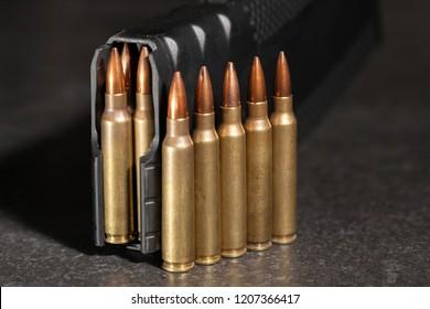 Live 223 ammunition lined up next to magazine.