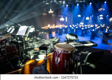 Live band concert show stage set and an event venue