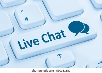 Live Chat contact communication service symbol blue computer keyboard