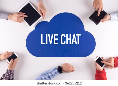 LIVE CHAT Group of People Digital Devices Wireless Communication Concept