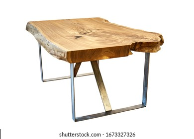 Live edge elm slab coffee table isolated on white background. Woodworking and carpentry production. Furniture manufacture