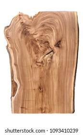 Live edge elm slab on white background. Wood slab with a lizard muzzle pattern