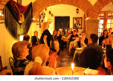 Live fado music in a Fado Restaurant in the old town of Alfama in the city centre of Lisbon in Portugal in Europe.     Portugal, Lisbon, May, 2009