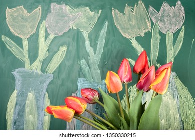 Live flowers and children's chalk drawing of tulips on a blackboard