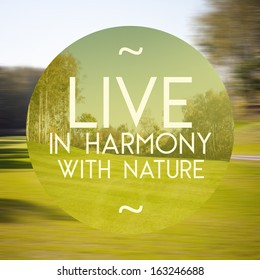 Live in harmony with nature poster, illustration of natural life