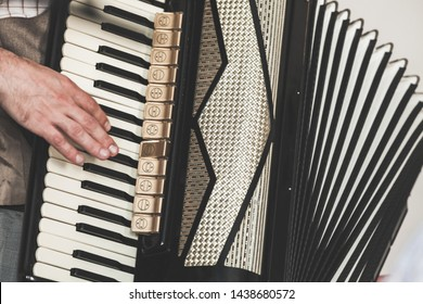 Live music background. Accordionist plays vintage accordion. Close-up photo with selective focus