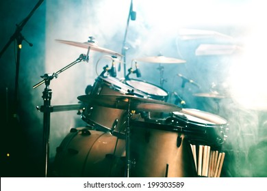 Live music background. Drum on stage