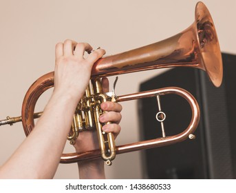 Live music background, flugel horn in trumpeter hands, close-up photo with selective focus
