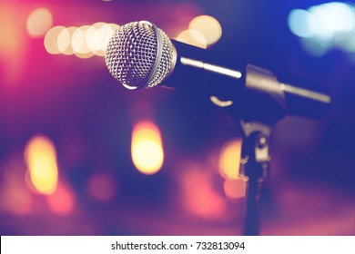 Live music background.Microphone and stage lights.Sing and karaoke