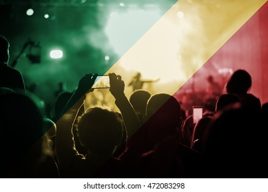 live music concert with blending Congo flag on fans
