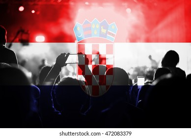 live music concert with blending Croatia  flag on fans