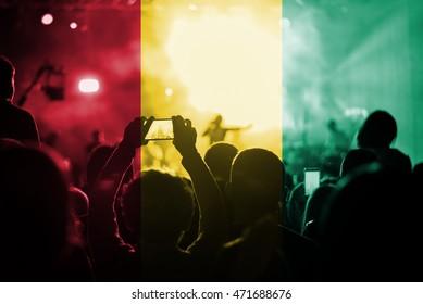 live music concert with blending Guinea flag on fans