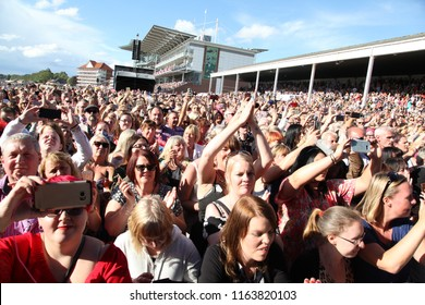 LIVE MUSIC - The crowd looking from the front of the stage prior to the Boyzone Concert at York Racecourse : York Racecourse, The Knavesmire, York, UK : 28 July 2018 : Pic Mick Atkins