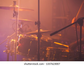 Live music photo background with rock drum set. Close-up photo, soft selective focus