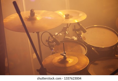 Live music photo, rock band drum set with cymbals