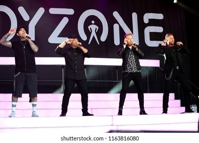 LIVE MUSIC - Pop Band Boyzone in concert at York Racecourse : York Racecourse, The Knavesmire, York, UK : 28 July 2018 : Pic Mick Atkins