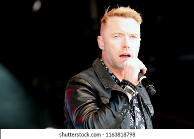 LIVE MUSIC - Pop Star Ronan Keating on stage with Boyzone in concert at York Racecourse : York Racecourse, The Knavesmire, York, UK : 28 July 2018 : Pic Mick Atkins