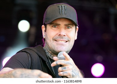 LIVE MUSIC - Pop star Shane Lynch on stage with Boyzone whilst in concert at York Racecourse : York Racecourse, The Knavesmire, York, UK : 28 July 2018 : Pic Mick Atkins