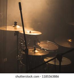 Live music theme, rock band drum set with cymbals