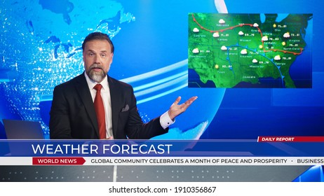 Live News Studio Professional Anchor Reporting on Weather Forecast. Weatherman, Meteorologist, Reporter in Television Channel Newsroom with Video Screen Showing Weather Synoptic Map Chart for U.S. - Shutterstock ID 1910356867