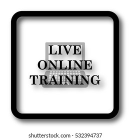 Live online training icon, black website button on white background.