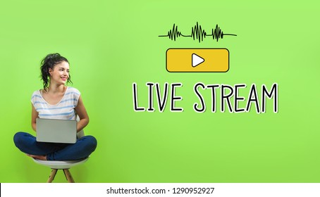 Live stream with young woman using a laptop computer