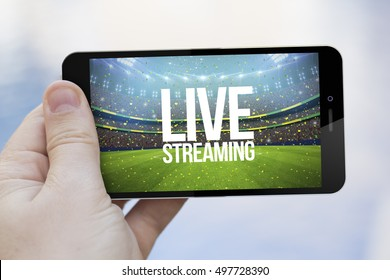 live streaming mobile concept: hand holding an live streaming sports event on a  3d generated smartphone. Screen graphics are made up.