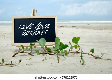 LIVE YOUR DREAMS. Chalkboard with written message and beautiful beach background.