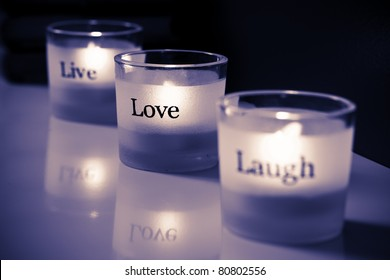 Live-Love-Laugh tea lights.