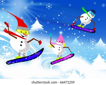 Lively and colorful Snowmen on snowboards going downhill