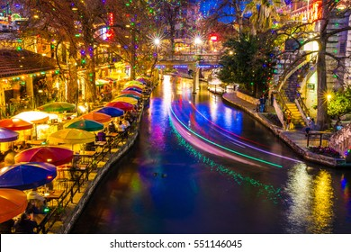 Lively winter night at River Walk in San Antonio, Texas