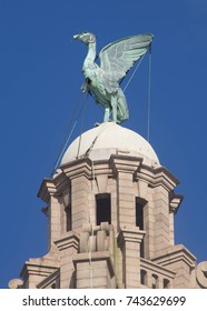 The Liver Birds on top of Liverpool Liver Building, one of the three graces of Liverpool, UK.