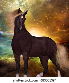 Liver Chestnut Unicorn 3d illustration - A Unicorn is a creature of myth and fantasy and has cloven hooves, forehead horn and a beard.