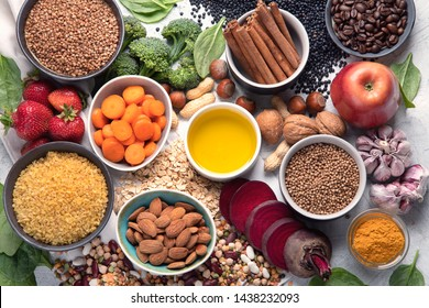 Liver detox diet food concept . Foods for healthy liver. Health foods high in antioxidants and fiber.