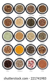 Liver detox health food selection in porcelain dishes on slate rounds and over white background with titles.