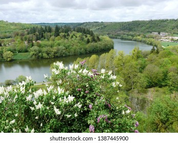 Liverdun, Meurthe et Moselle/France - 04/25/2019 : Loop of the Moselle River in Liverdun. Department Meurthe and Moselle.