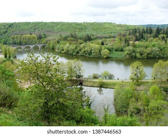 Liverdun, Meurthe et Moselle/France - 04/25/2019 : Loop of the Moselle River and bridge in Liverdun. Department Meurthe and Moselle.
