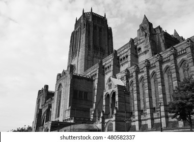 Liverpool Cathedral aka Cathedral Church of Christ or Cathedral Church of the Risen Christ on St James Mount in Liverpool, UK in black and white