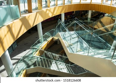 Liverpool Central Library, Liverpool, UK; March 25th 2019- overlapping staircases of glass and steel, stunning modern architecture behind a classical facade