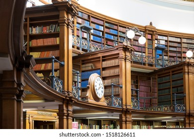 Liverpool Central Library, Liverpool, UK; March 25th 2019 - beautiful traditional wood paneled library