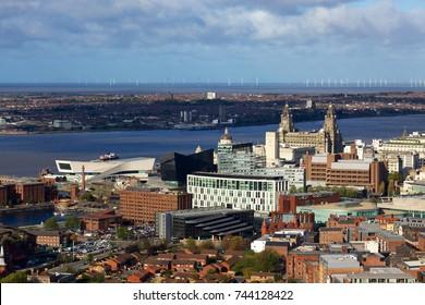 Liverpool city aerial panorama view