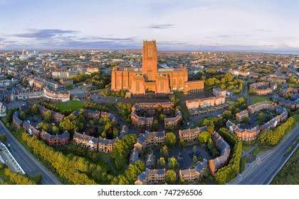 Liverpool city and cathedral, aerial shot