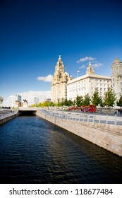 Liverpool city centre - Three Graces, buildings on Liverpool's waterfront, UK