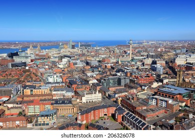 Liverpool - city in Merseyside county of North West England (UK). Aerial view.
