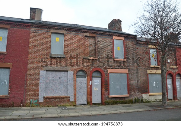 Liverpool December 10 Derelict Terraced Houses Stock Photo
