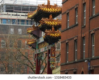 Liverpool / England - 04.01.2018: View of the chinatown gate in Liverpool, England