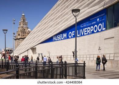 Liverpool, England: 14 May 2016 - Museum of Liverpool, Pier Head, Liverpool, England, UK, by 3XN, and in the background, the Royal Liver Building.