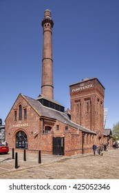 Liverpool, England: 14 May 2016 - The Pumphouse, a Victorian pump house on Hartley's Quay in the Albert Dock area of Liverpool's waterfront, now a pub/restaurant.