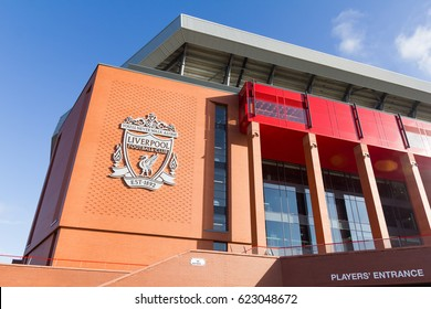 LIVERPOOL, ENGLAND - APRIL 1, 2017: View of the Anfield stadium, home of Liverpool Football Club. The place is the sixth largest football stadium in England.